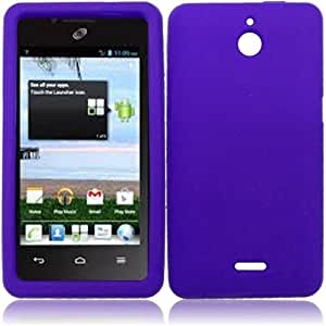 HR Wireless Huawei Valiant/Huawei Ascend Plus H881C Silicone Skin Cover - Retail Packaging - Dark Purple