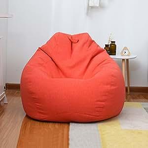 现代简约单人沙发榻榻米休闲沙发豆包 日式创意阳台可拆洗卧室懒人沙发客厅舒适豆袋 (桔红色)