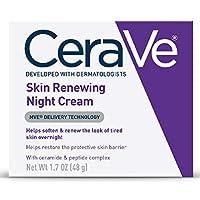 CeraVe 面部晚霜  含透明质酸和烟酰胺的肌肤再生晚霜  包装可能会有所不同  1.7盎司/48克