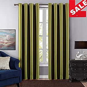 """Dreaming Casa One Panel Grommet Top Solid Blackout Window Curtains Sliver Stainless Steel Ring Draperies Light Green 52"""" W x 96"""" L"""