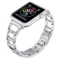 Apple 表带 42MM 表带替换不锈钢金属表链,适用于 iWatch 系列 3,2,1 腕带豪华闪耀钻石,适用于 Apple Watch 女士可调节表带 - 银色