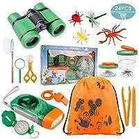 Ezire 24 合 1 儿童户外探索套件 - 儿童双筒望远镜玩具套装,手电筒罗盘口哨放大玻璃镊子虫容器 蜘蛛背包 男孩女孩的*礼物
