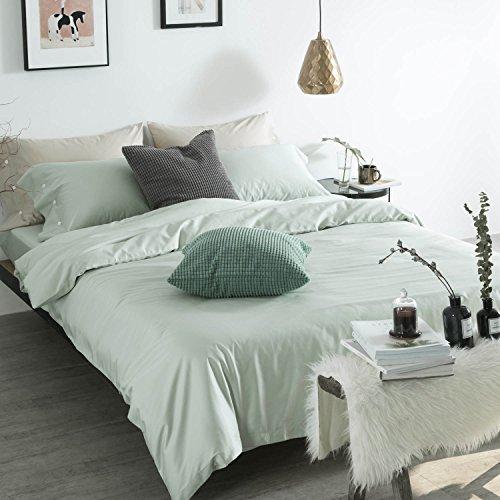 Xanlenss Xuan Lan Shiシルクセンスピュアコットンエジプト60S長繊維綿サテン無地純粋な4ピース60シルクコットンシンプルな無地植物アクティブ印刷と染色寝具キット(元の緑、1.8 mのベッド(キルトカバー220 * 240)