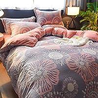 南极人网红珊瑚绒四件套加厚法莱绒双面水晶绒床单被套床上用品床笠款 1.5米床(200 * 230cm被套) 6D雕花绒-落英缤纷