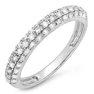 0.43 Carat (ctw) 18K White Gold Round White Diamond Ladies Wedding Band Stackable Ring (Size 8)