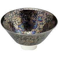 京燒 清水燒 杯(木盒裝)黑色 直徑8.5厘米 陶庵窯 黑耀虹彩 TOA857