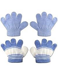 2 双装婴儿至学步宝宝手套弹力针织保暖冬季(0-3 岁)