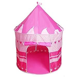 儿童室内帐篷玩具屋 王子蒙古包公主城堡帐篷儿童游戏屋爬行屋 (粉红)