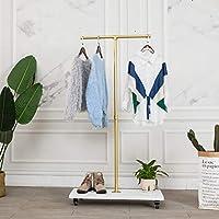149.86 厘米高,金色,工业管道衣架架,悬挂衣服零售展示的滚动衣架,独立式衣架,走廊/入口衣架,适用于衣服、套装、配饰