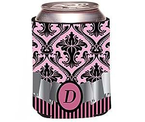 """Rikki Knight Beer Can Soda Drinks Cooler Koozie, Letter """"D"""" Initial Monogrammed Design, Damask and Stripes, Light Pink"""