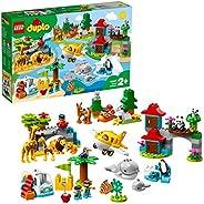 LEGO 10907 DUPLO 小镇世界动物冒险学习玩具 适合 2 - 5 岁儿童,带飞机和 15 个杜波动物玩具