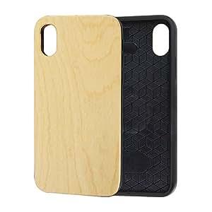 iPhone X TPU 木质手机壳樱桃木背壳带磁性保护壳适用于 Apple IPhone Xblank magnet beech i8 山毛榉