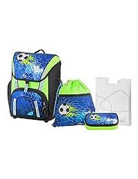 Schneiders Vienna 书包套装燕子, 足球冠军, 4件, 包括弹簧盒, 运动包和练习盒, 41 cm, 蓝色
