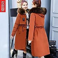 Wilindun冬季外套新款韩版羽绒棉衣女中长款加厚大毛领冬装双面穿