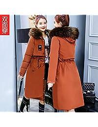 Wilindun冬季外套新款韩版羽绒棉衣女中长款加厚大毛领冬装双面穿可脱卸帽