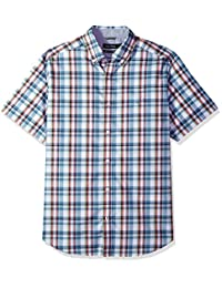 Nautica 男式防褶皱短袖格子纽扣衬衫