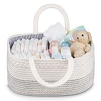 婴儿篮 – Jeneric Design 编织绳便携式轻质白色婴儿篮带把手,用于存放和整理尿布、玩具、婴儿洗衣布、毛巾、毛毯