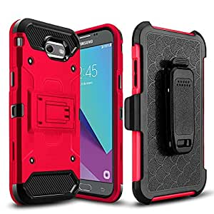 Samsung Galaxy J3 Emerge Case, Mstechcorp Holster Locking Belt Clip Protector Case Cover for Samsung Galaxy J3 Emerge J327 with Goodie 红色