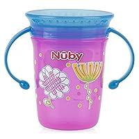 Nuby 1 只 No Spill 双手柄 360 度打印神奇杯 粉红色