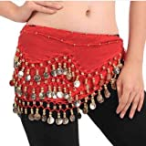 OPCC Belly Dance Hip Skirt Scarf Wrap Belt costume with Rows Gold Coins (red)