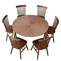 百伽 马来西亚原装进口餐桌椅组合 实木 一桌六椅63370/61944/61944胡桃木色 1.2米圆桌+6把温莎椅【亚马逊自营,供应商配送】