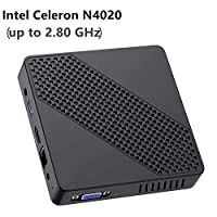 迷你 PC 無風扇 Intel Celeron N4000 ( 高達 2.6GHz) 4GB DDR/64GB eMMC 迷你臺式電腦 Windows 10 Pro HDMI 2.0 和 VGA 端口 2.4/5.8G WiFi BT4.2 3xUSB3.0 支持 Linux,NGFF 2242 SSD Intel Celeron N4020
