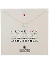 Dogeared 朵吉儿 Mom I Love Mom 大号白色珍珠项链,20 英寸(约 50.8厘米)。  银色 均码