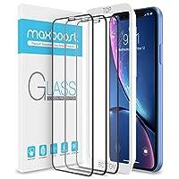 Maxboost 邊到邊(3 件裝)屏幕保護膜適用于蘋果 iPhone 11 和 iPhone XR(6.1 英寸)[觸摸精確] 全框鋼化玻璃屏幕保護膜兼容 iPhone XR/11-3 件裝
