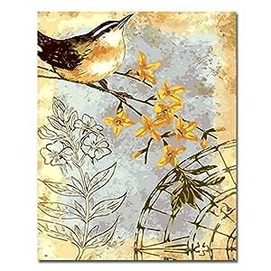 Rihe DIY 油画数字套件动物主题 40.64 x 50.8 厘米成人儿童初学者 Bird and Blooms Frameless Ri13he065