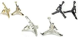 3 对 Michael Air Jordan Jumpman 黑色、金和银色方晶锆石耳钉嘻哈金耳环