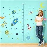 SPACESHIP 火箭 growth 高图墙上 stickers  可移除 PVC 装饰   planets 与星星贴花墙壁贴纸适用于儿童房 and 房小硬盘 红色