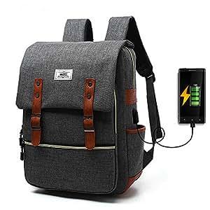 Kashine 背包笔记本电脑书包防水帆布背包休闲包适合*大 15.6 英寸笔记本电脑商务工作旅行学院OFS-0003 15.6 inches