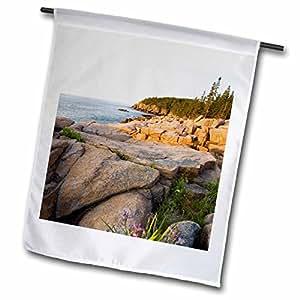 danita delimont–花–蓝色国旗 IRIS 花朵之间 Rocks Maine–US 20码 jmo0673–JERRY 和 MARCY monkman–旗帜 12 x 18 inch Garden Flag