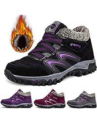 gracosy 女式徒步鞋,高帮运动鞋冬季保暖钩环雪鞋毛皮衬里麂皮及踝靴