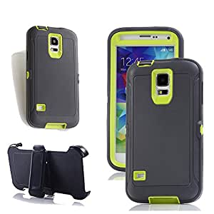 Galaxy S5 皮套,Harsel Defender 系列重型树迷彩高强度耐用混合橡胶保护带皮带夹内置屏幕保护膜外壳适用于 Galaxy S5 灰色 绿色