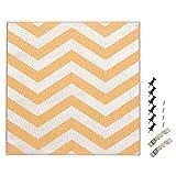 软木公告板 - 装饰性墙面装饰软木板,银色锯齿形设计,含 6 个推销,用于夹趾备忘录和提示,39.88 x 39.88 x 1.78 厘米