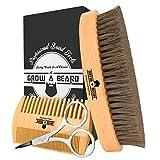 男士护理胡须刷和梳子套装 - 礼品盒和友好的包 - *好的竹制*工具非常适合分配香料或油以生长和造型而生长 - 增加光泽和柔软 1.00