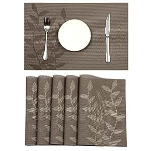 pauwer placemats 6件套 crossweave 梭织乙烯基餐垫适用于厨房耐热防滑餐桌垫易于清洁蓝色