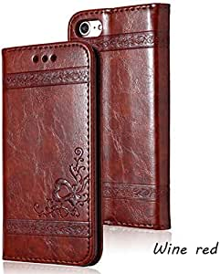 iPhone X 6 6S 7 8 Plus 皮革磁性翻盖手机壳,适用于三星 Galaxy S9 S7 S8 Plus Note 8 S9 Plus 复古卡槽手机套 Samsung NOTE 8 *红色