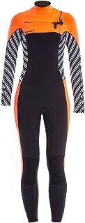GlideSoul 女式活力条纹系列 5mm 全潜水服,条纹印花/黑色/桃色,XXS 码