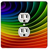 Rikki Knight Rainbow Colorful Paper Curls Single Outlet Plate