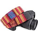 狼图案条纹帆布 相机颈带 适用于所有 DSLR/SLR/男士/女士 average 火红