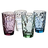 Bormiolirocco 波米欧利.罗克 意大利进口 钻石高杯炫彩四只装玻璃杯470ml 3.502123S4(1透明+1紫+1蓝+1绿)