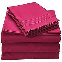 Celine Linen 1800 支埃及棉优质超细纤维单人床/单人床 XL 羽绒被套,黑色 粉红色 Split King 65RW-Celine-1800-Split King-Pink