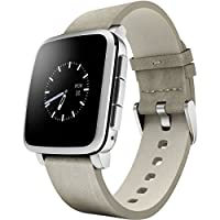 Pebble时间系列SmartWatch 适用于苹果/ Android设备- 银色