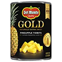 Del Monte Canned Gold Pineapple Tidbits In 100% Pineapple Juice, 20 Oz