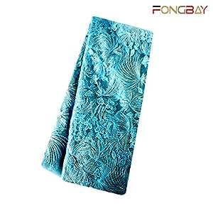 Fongbay Africa 蕾丝面料牛奶切边蕾丝武术面料刺绣派对婚礼礼服短裙或手工制作 DIY 黄色 5 blue2.6yard LSHB