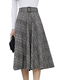 Tanming 女式弹性腰带羊毛混纺格子中长裙