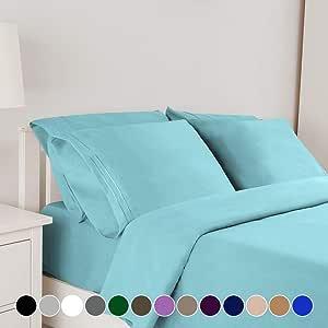 Bonzy Home 床上用品 6 件套 1800 床上用品 * 超细纤维 - 袋深,低致敏性,透气,抗凉抗皱,不褪色床上用品套装 浅蓝色 Queen