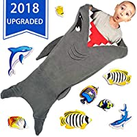 CozyBomB 舒适鲨鱼尾毛毯儿童款 - 光滑一体式毛毯设计 - 耐用无缝舒适毛绒抱被 - 大码灰色睡袋 带鱼嘴的生日礼物